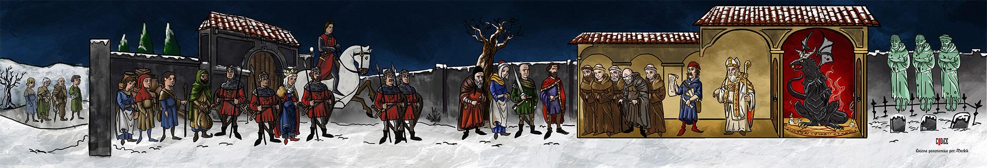 escena panoramica por Marlok de una noche en la abadía, partida del grupo creativo Codice para Aquelarrede Nosolorol