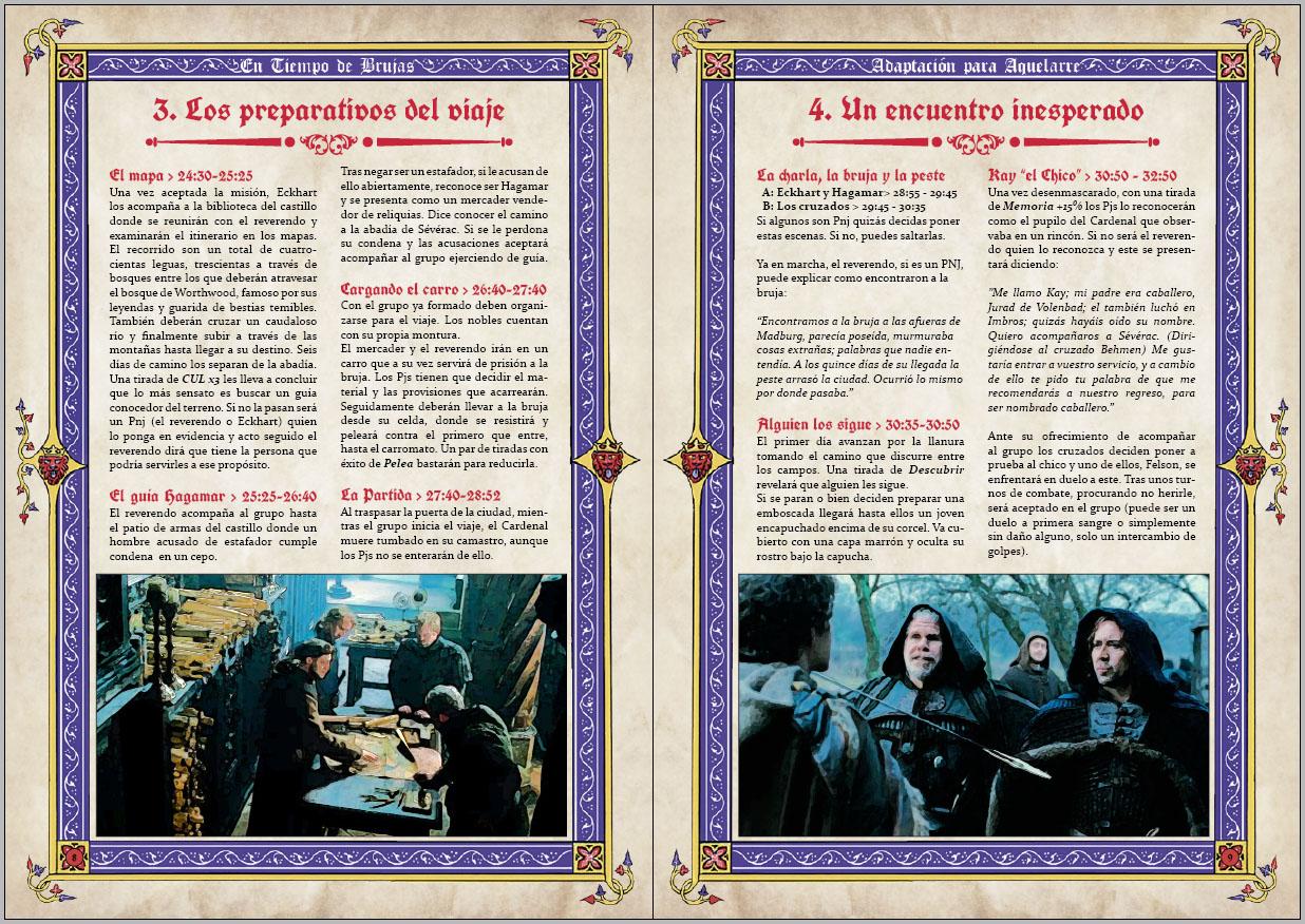 Doble página de la aventura para aquelarre En tiempo de brujas adaptada por rolmasters