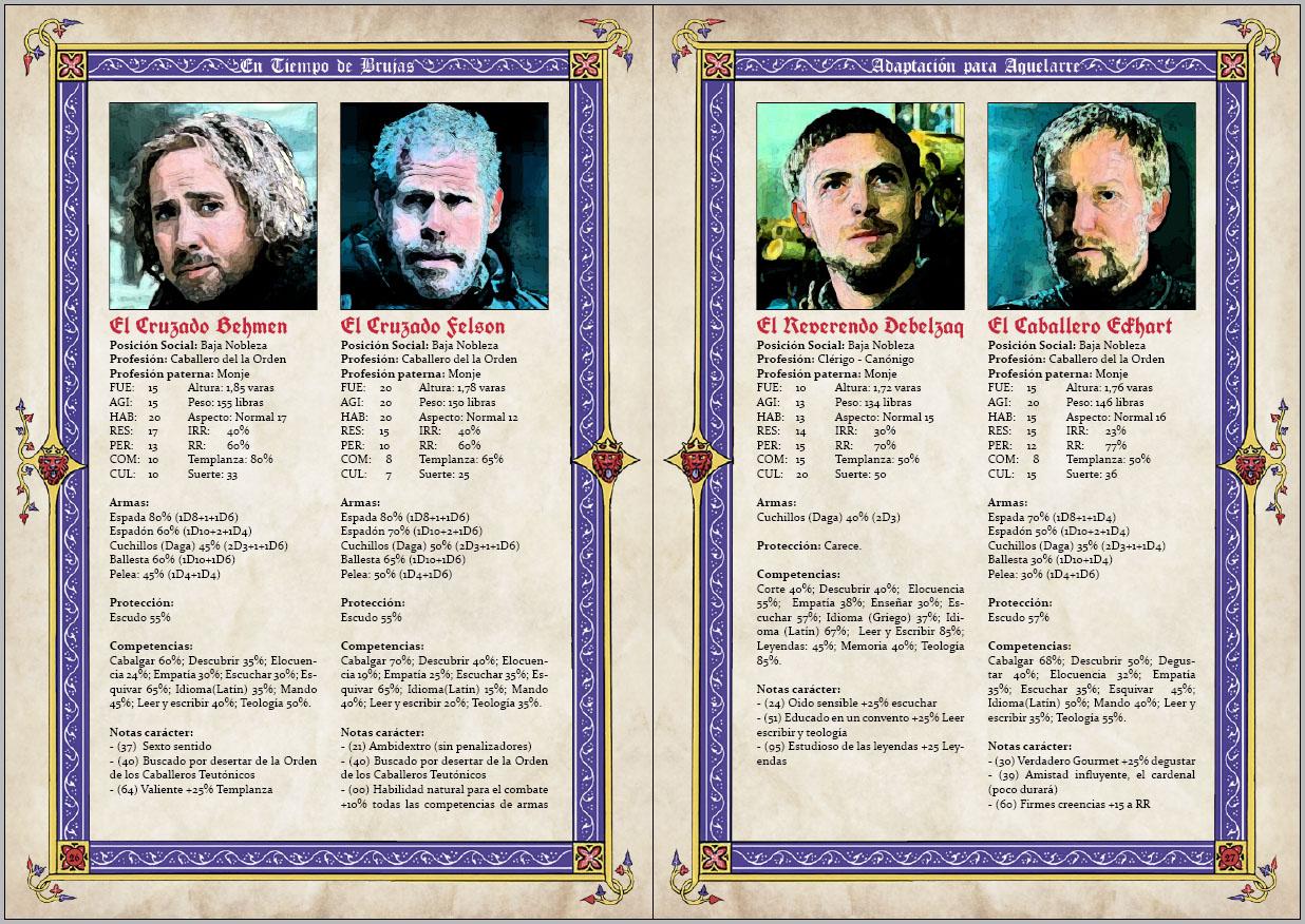 Doble página de los personajes, dramatis personae, de la aventura para aquelarre En tiempo de brujas adaptada por rolmasters