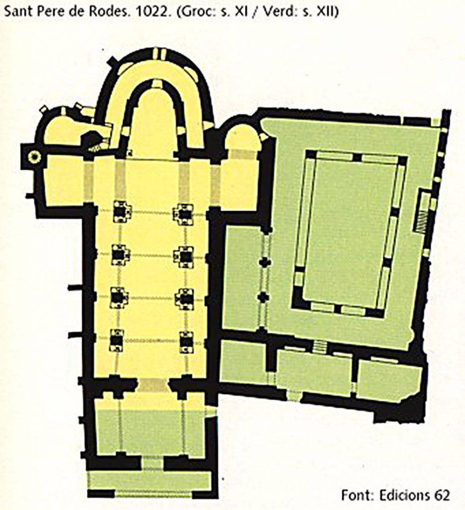 mapa del monestir de Sant Pere de Roda