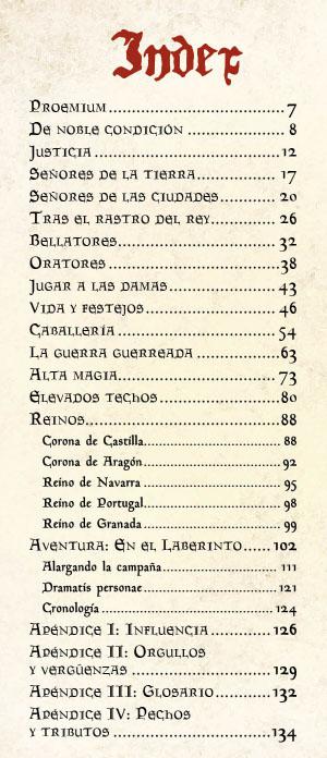 Indice Liber Nobilium suplement d'Aquelarre sobre la noblesa medieval per Abel Peña González