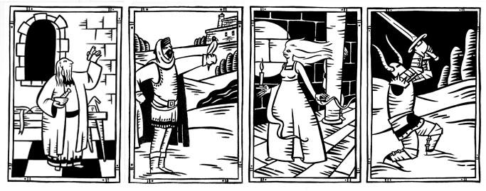 ilustraciones y dibujos en blanco y nergo para Aquelarre por Montse Fransoy